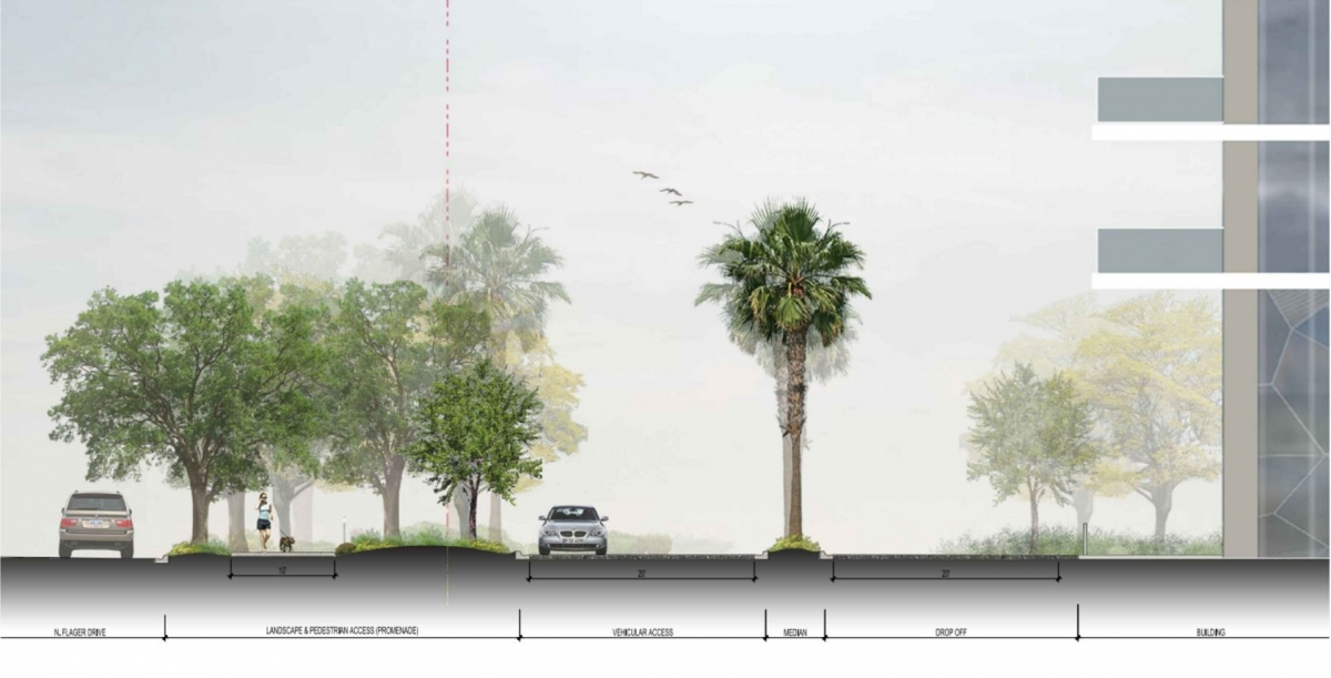 PBA 3 & PBA 1 - North Flagler Drive Pedestrian Greenway and Drive Aisle Landscape Cross-Section